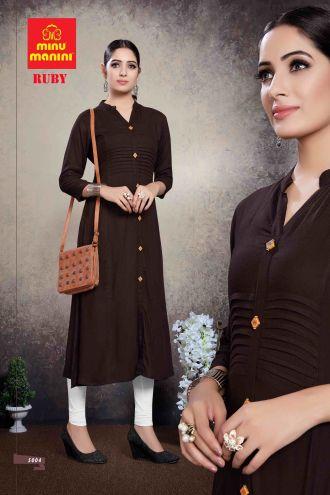 Minu Brown Premium Rayon Solid Color Kurti Kurti