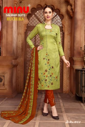 Minu Multi Cotton Printed Designer Fashionable Ruchika 2 Salwarsuit