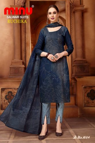 Minu Deep Blue Cotton Printed Designer Fashionable Ruchika 2 Salwarsuit