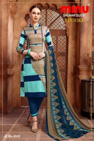 Minu Multi Cotton Printed Designer Fashionable Ruchika 2 Salwarsuit