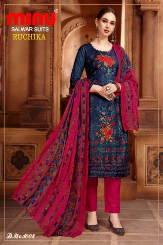Minu Blue Cotton Printed Designer Fashionable Ruchika 2 Salwarsuit