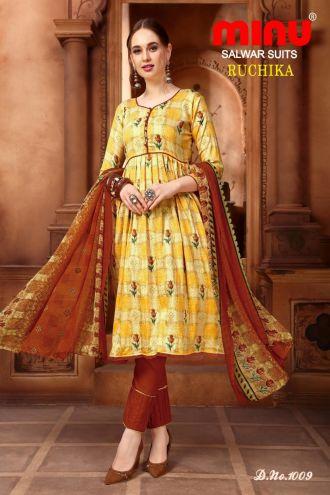 Minu Yellow Cotton Printed Designer Fashionable Ruchika 2 Salwarsuit