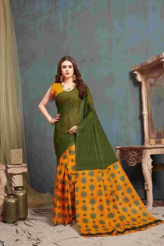 Minu Green And Yellow Multi Color Cotton Printed Saree Sarees