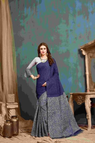 Minu Blue And Grey Multi Color Cotton Printed Saree Sarees