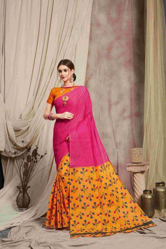 Minu Pink And Yellow Multi Color Cotton Printed Saree Sarees