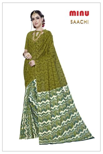 Minu Green Cotton Printed Designer Fancy Saree Sarees
