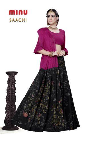 Minu Pink Cotton Printed Designer Fancy Saree Sarees