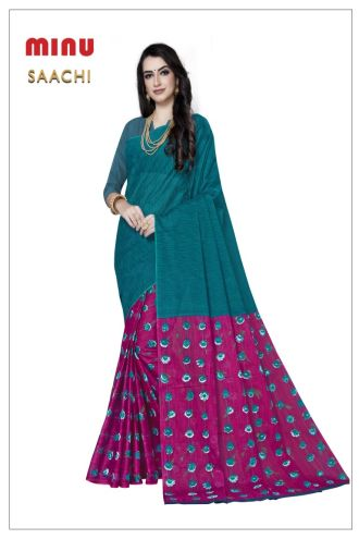 Minu Til Green Cotton Printed Designer Fancy Saree Sarees