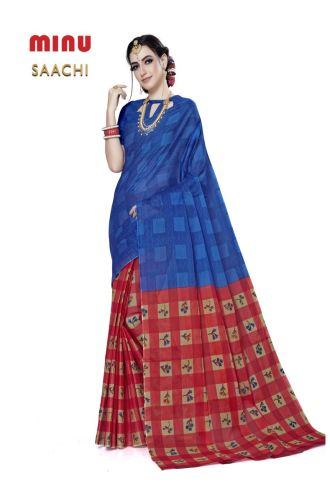 Minu Blue Cotton Printed Designer Fancy Saree Sarees