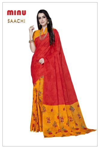 Minu Red Cotton Printed Designer Fancy Saree Sarees