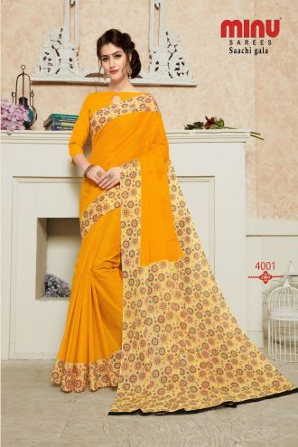 Minu Yellow Pure Cotton Designer Printed Sarees
