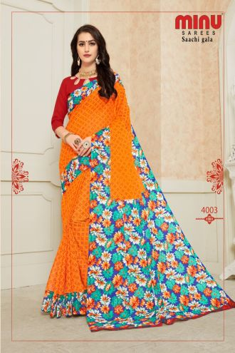 Minu Orange Pure Cotton Designer Printed Sarees