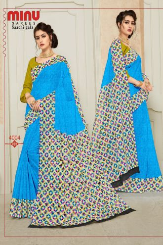 Minu Blue Pure Cotton Designer Printed Sarees
