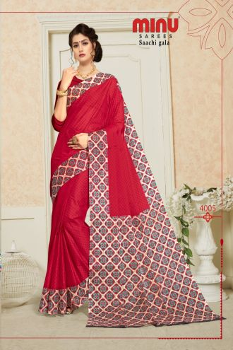 Minu Red Pure Cotton Designer Printed Sarees