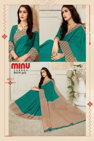 Minu Green Pure Cotton Designer Printed Sarees