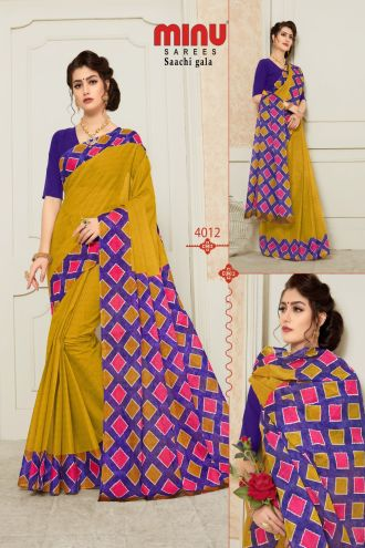 Minu Multi Pure Cotton Designer Printed Sarees