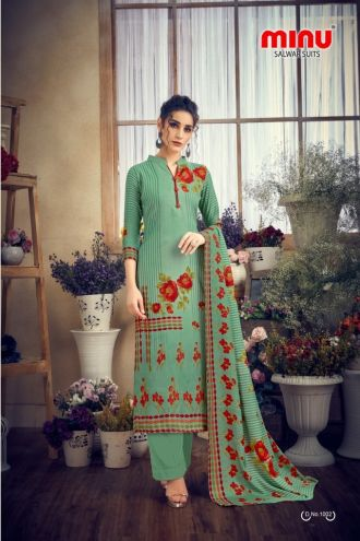 Minu Green Pashmina Fabric Winter Collection Salwarsuit