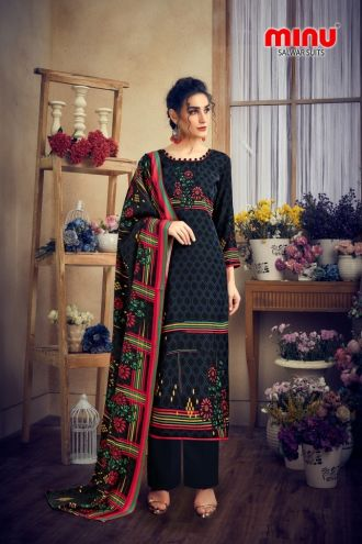 Minu Black Pashmina Fabric Winter Collection Salwarsuit