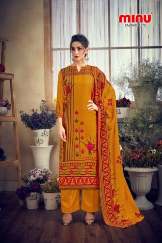 Minu Golden Pashmina Fabric Winter Collection Salwarsuit