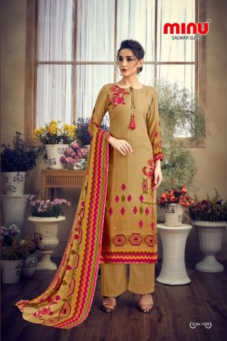 Minu Khaki Yellow Pashmina Fabric Winter Collection Salwarsuit