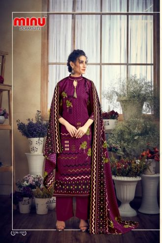 Minu Marron Pashmina Fabric Winter Collection Salwarsuit