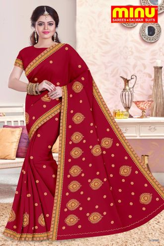 Minu Red Cotton Embroidered Fancy Designer Ethnic Indin Wea Sarees