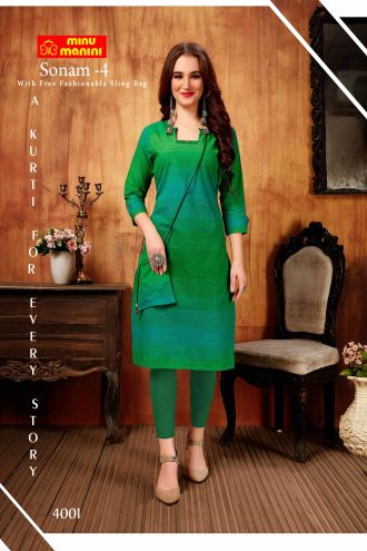 Minu Green South Handloom Fabric Long Kurti With Slim Bag Kurti