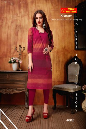 Minu Rose Red South Handloom Fabric Long Kurti With Slim Bag Kurti