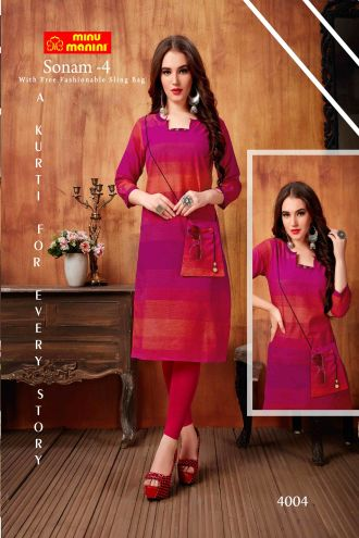 Minu Pink South Handloom Fabric Long Kurti With Slim Bag Kurti