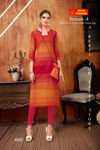 Minu Orange South Handloom Fabric Long Kurti With Slim Bag Kurti