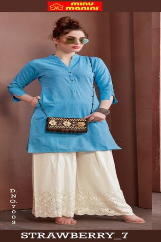 Minu Blue Pure Cotton Handloom Designer Kurti