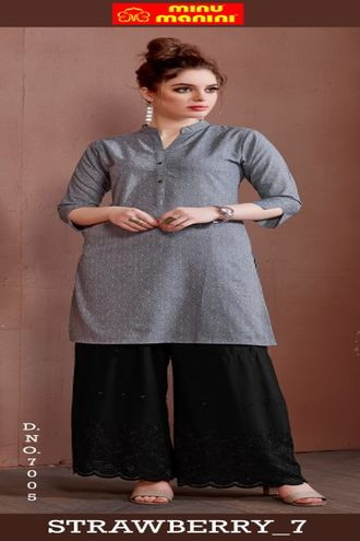 Minu Grey Pure Cotton Handloom Designer Kurti
