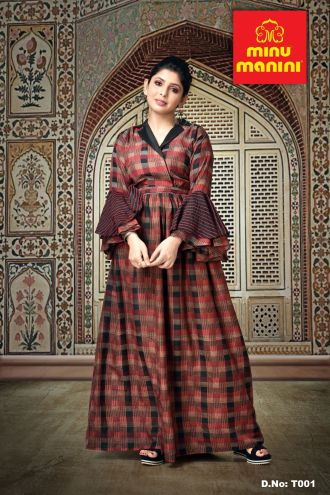 Minu Brown Dola Silk With Printed Rayon Gown