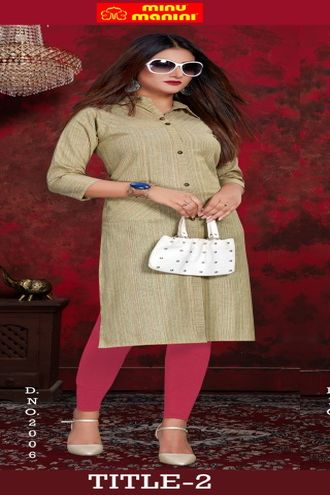 Minu Green Pure Indian Handloom Fashionable Kurti