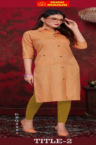 Minu Orange Pure Indian Handloom Fashionable Kurti