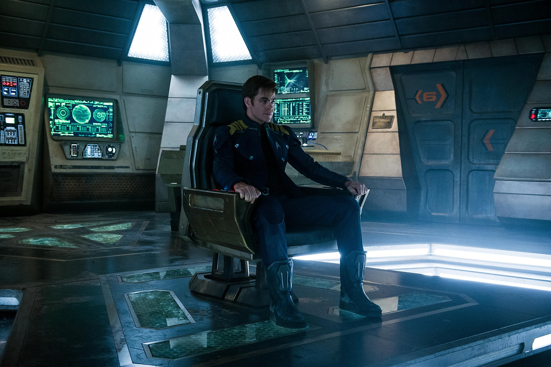 Chris Pine plays Kirk in Star Trek Beyond from Paramount Pictures, Skydance, Bad Robot, Sneaky Shark and Perfect Storm Entertainment