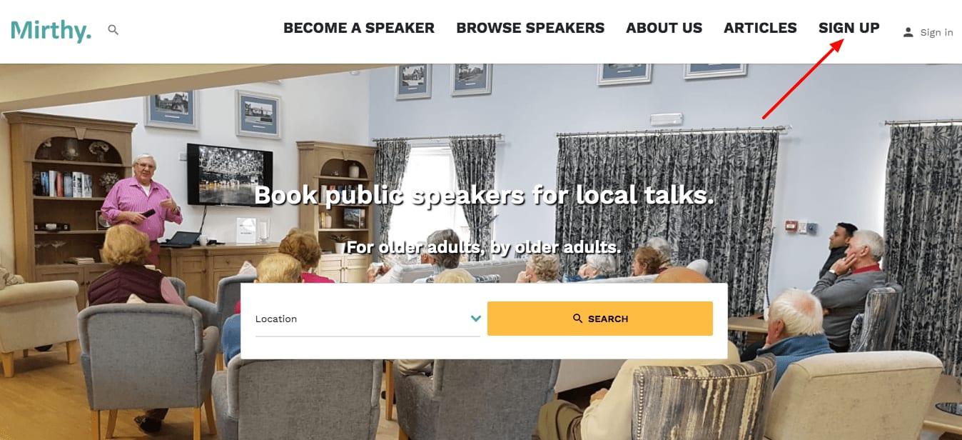 public speaker sign up
