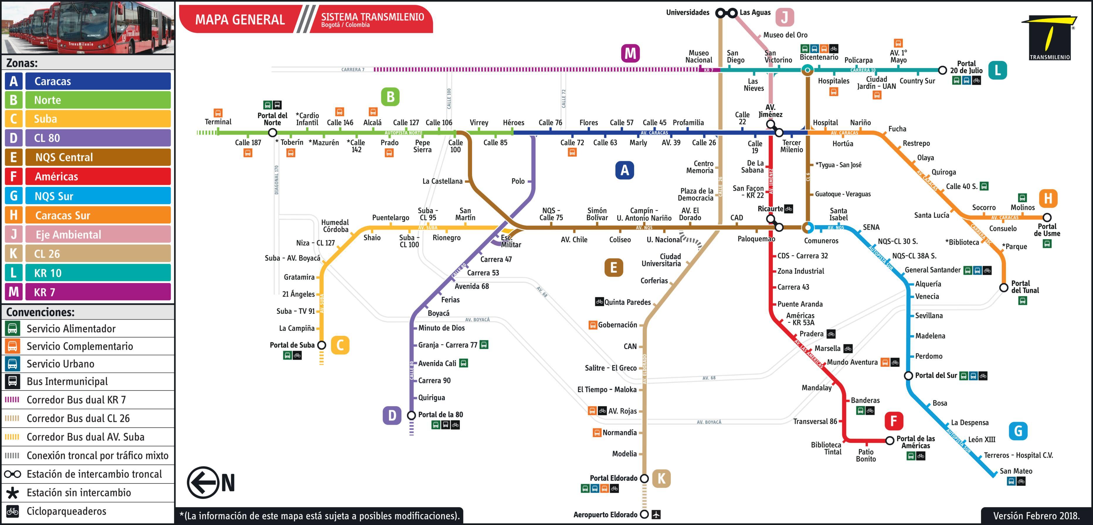 Mapa y estaciones del sistema Transmilenio en Bogotá (Colombia)