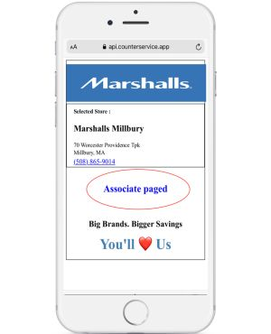 Phone application showing confirmation of assistance.
