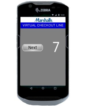 Store clerk calls the next guest using the CounterService app.