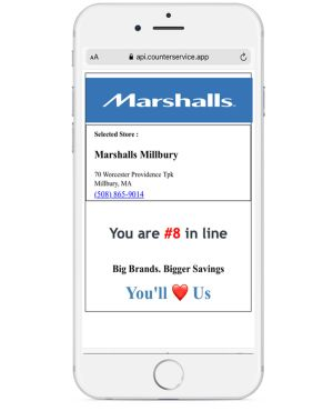 CounterService app showing the customer their place in the virtual queue.