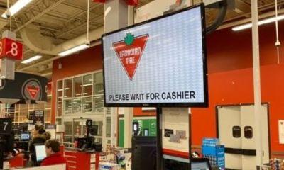 Qbuster Call Forward at a checkout counter at New Canadian Tire.
