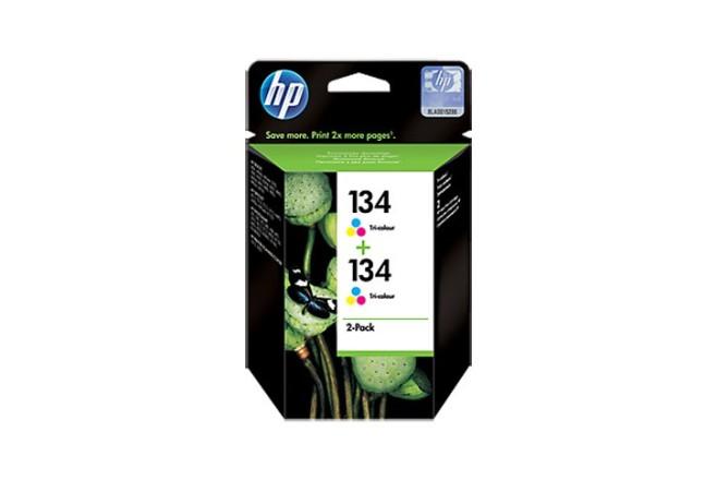 זוג ראשי דיו צבעוני מקוריים HP C9505HE-134