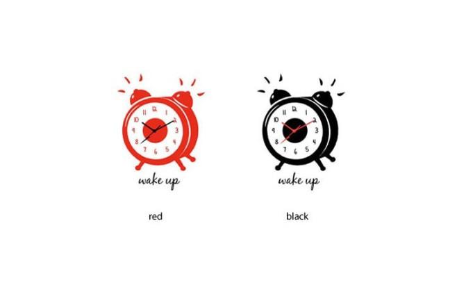 מדבקת קיר-שעון wake up