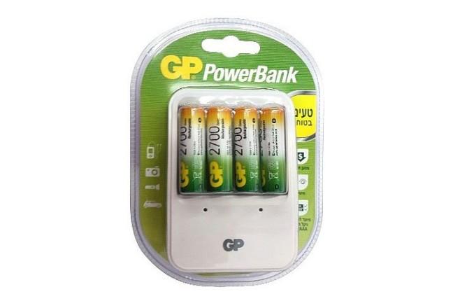 מטען סוללות כולל 4 סוללות 2700mAh NiMH AAGP PowerBank