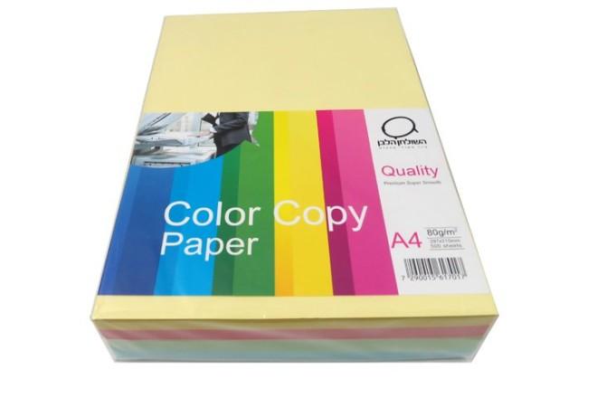 נייר צילום A4 מעורב צבעים פסטלים- 80 גרם
