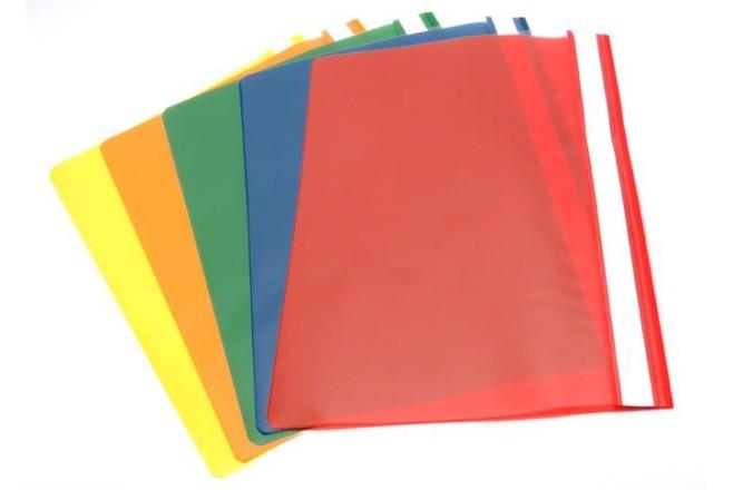 תיק פלסטי חזית שקוף-פוליו מעורב צבעים ( 10 יח)