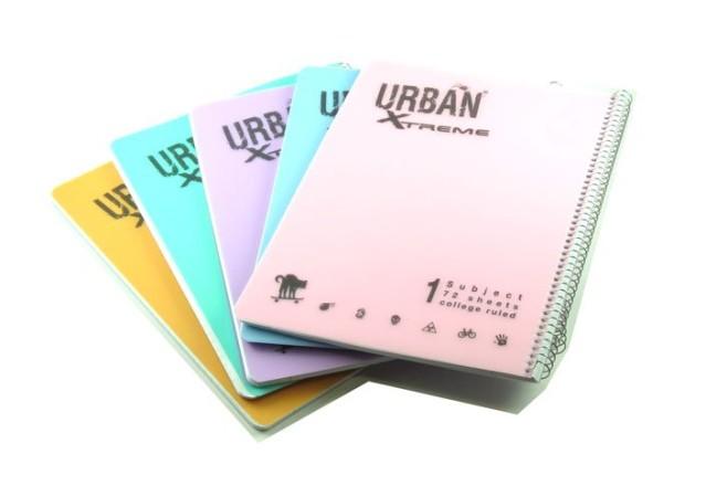 מחברת ספירלה URBAN כריכת פלסטיק נושא אחד - צבעים פסטלים