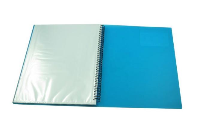 תיק תצוגה ספירלה 20 כיסים- כחול שקוף