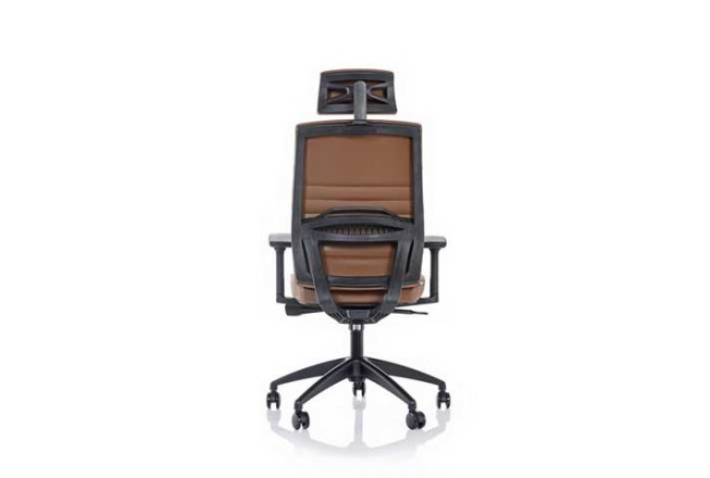 כסא מנהל MOROCCO גב גבוה ומשענת ראש -צבע חום